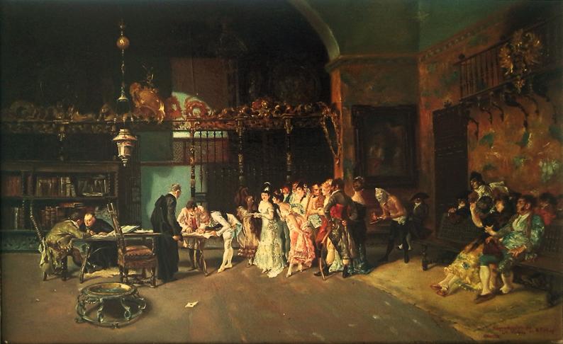 """Reproducción de """"La Vicaria"""", de Marià Fortuny. Pintura al óleo de Carmen Gandía"""