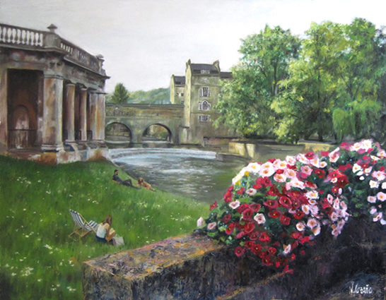 Oil painting about Bath, England. By the spanish artist Miquel Cazanya