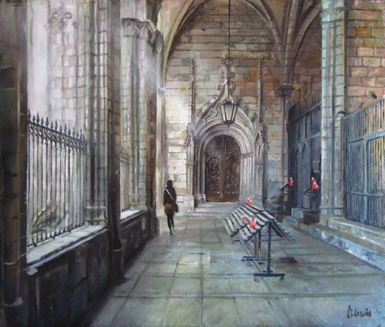 oil Painting of the cathedral of Barcelona