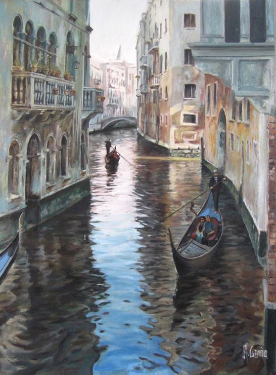 Pintura al óleo de un canal de Venecia por Miquel Cazaña