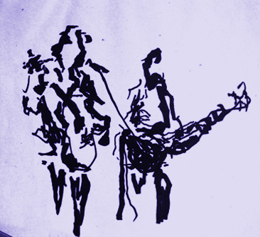 Draw about a guitar group by the artist Miquel Cazanya
