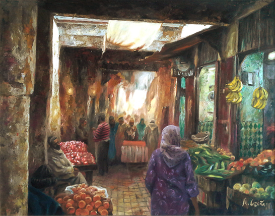 Painting about a street of the market of Fez in Morocco