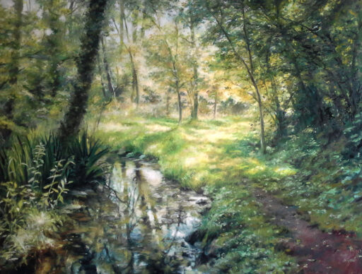 Oil painting of a landscape of Girona by Miquel Cazanya