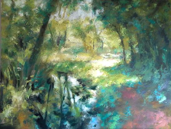 pintura de paisajes al óleo. Fase de espátula