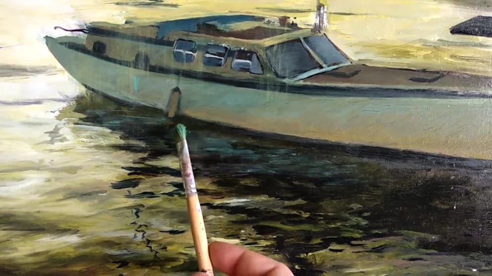 pintar sombras de paisajes al óleo con espátula - cuadros pintados al óleo para comedor - Miquel Cazaña 2018