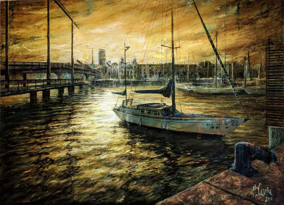 Pinturas de atardeceres al óleo - Puerto de Barcelona - Miquel Cazaña 2018