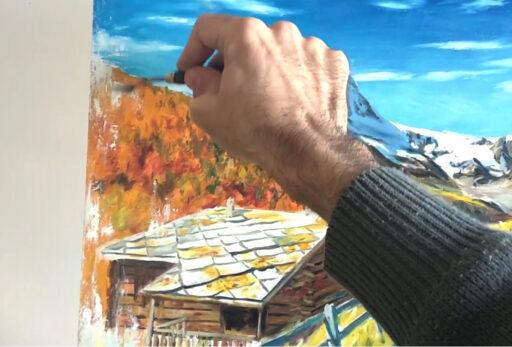 detalle de una pintura al óleo con espátula