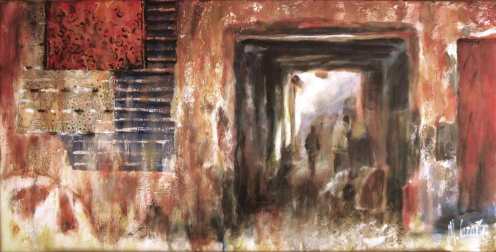 Proceso de pintura sobre la India- Miquel Cazaña 2014