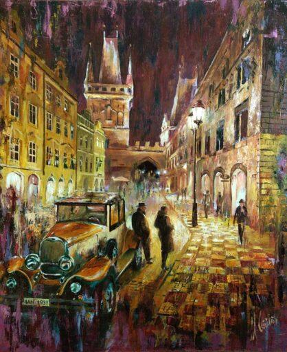 Paisaje urbano -Cuadro de la ciudad de Praga