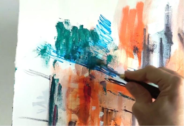 creando textura con la pintura al óleo con espátula. Miquel Cazaña 2019