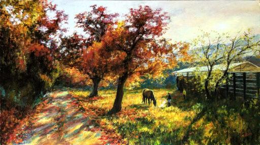 Cuadros de caballos pintados al óleo en paisajes campestres - fase 4