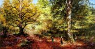 Selva de Irati - paisajes de otoño pintados al óleo - Miquel Cazaña 2020 - original paintings Landscape paintings