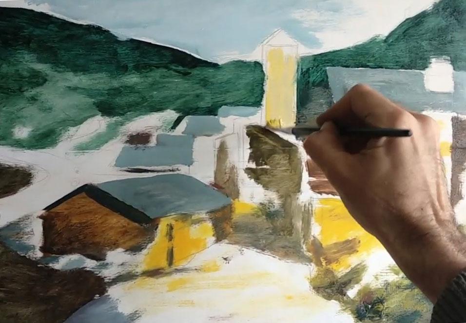 Pintura al óleo de pueblo de piedra de noche