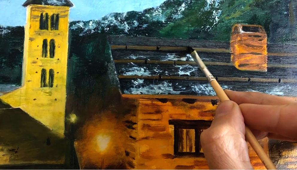 Proceso de pintura al óleo de pueblo de piedra - Miquel Cazaña