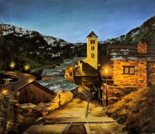 pinturas de pueblos de piedra de noche - Campanario de Pal, en Andorra. Por Miquel Cazaña