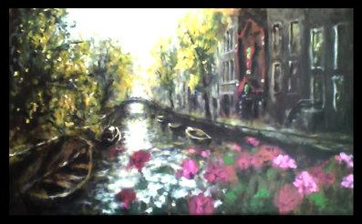 pintura de Amsterdam en acrílico sobre tabla