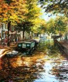 cuadro de Amsterdam realizado en 2019 por Miquel Cazaña en óleo sobre tabla
