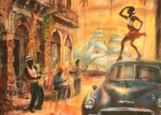 Pintura de músicos cubanos